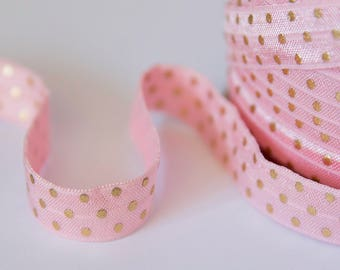 "Pink Gold Polka Dot Elastic, Silver Metallic Stripe, 5/8"" FOE, Fold Over Elastic by the Yard, Elastic Baby Headbands and Hair Ties, Favor"