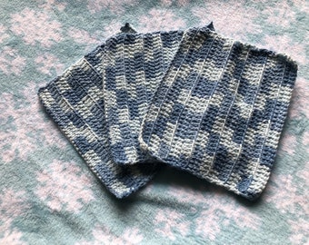Set of three handmade washcloths