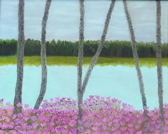 Pink Paradise - Trees on a lake with azaleas blooming and trees in the distance