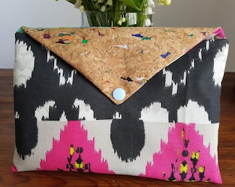 Bimaterial Cork clutch and fabric