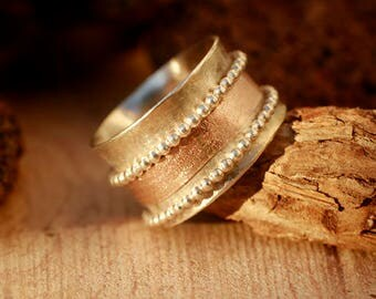Spinner ring Silver and gold, Sterling silver and gold band ring,  Spinner wedding Ring Silver and gold, Meditation spinner ring