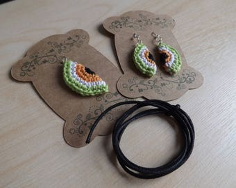 Crocheted Papaya Earrings and Pendant