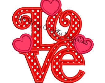 LOVE with hearts Applique Embroidery Design