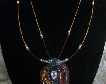 Necklace, Bead Embroidery Artisan OOAK