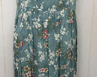 Vintage 80s 90s Long Floral Dress Tieback Sleeveless Rayon Grunge ERIKA & CO. Size Medium