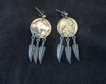 Native American Buffalo Nickel Earrings