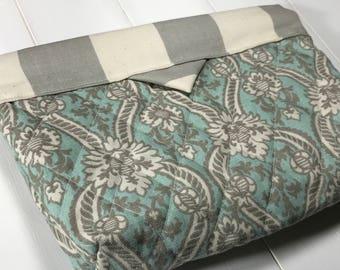 Self Closing Diaper Clutch - Paisley Stripes Blue, Light Blue Grey Stripes Nappy pouch