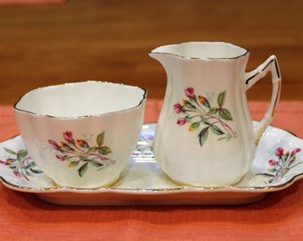 Old Royal Bone China Sugar, Creamer, and Platter trio, Floral Pattern