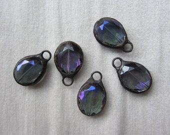Hand Soldered Blue Purple Medium Crystal Oval