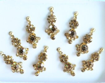 9 Antique Long Gold Face Jewels,Bridal Bindis Stickers,Stone Bindis,Gold Bindis Face Jewels Bindis ,Antique Bindis,Self Adhesive Stickers