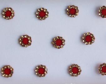 Red Plain Fancy Round Bindis,Round Bindis,Velvet Red Bindis,Red Round Face Jewels Bindis,Bollywood Bindis,Self Adhesive Stickers Pack