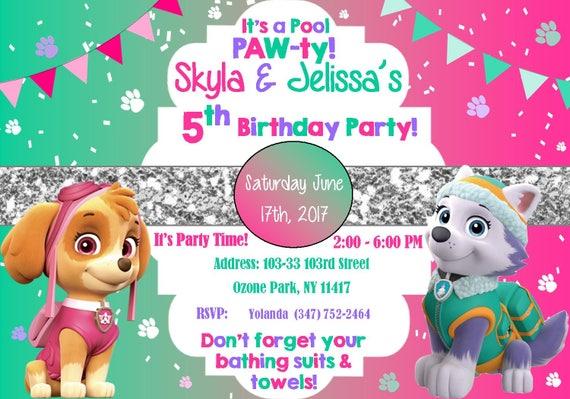 Girl S Paw Patrol Pool Party Invitation