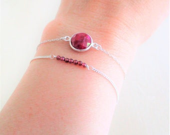 Two bracelets in Sterling Silver 925 gemstones-Garnet and set with Silver 925 color Ruby