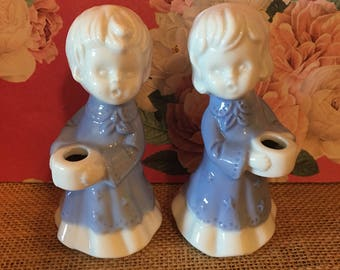 Vintage Porcelain Girl Boy Small Taper Candle Holders