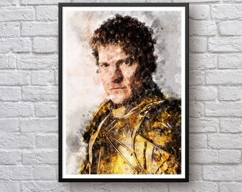 Game of Thrones Poster, Jaime Lannister Poster, House Lannister Westeros Print, Hear Me Roar, TV Show Watercolor Poster, Art Print, Man Cave