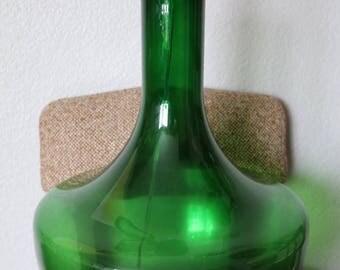 Mid-Century Modern emerald green glass lamp, vintage table lamp, emerald