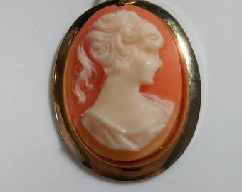 Vintage Coral Colored Womans Cameo Pendant with Gold Chain