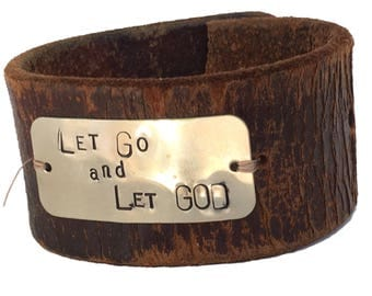 Let Go Hand Stamped Leather Cuff