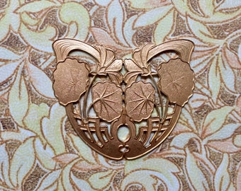 Large/Nouveau/French/Vintage/ Brass Flower Basket Stamping/Butterfly Shape/Enameling/Brooch/Leatherwork/Decorative Metalwork/Accent Piece