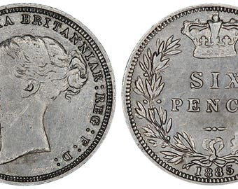 1885 Victoria silver sixpence coin of Great Britain
