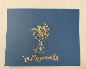 With sympathy cards set of 12 - light blue and gold - loss cards, grief cards