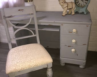 Distressed Grey Desk with Chair