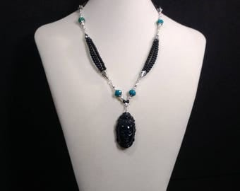 Black Obsidian, Quan Yin, 21in multi strand Necklace, Turquoise,  cultured Fresh Water Pearls, carved Pendant, Silver plated