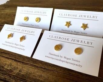 Glitter gold studs, sparkle earrings, gold sparkle studs, handmade earrings, Christmas gift