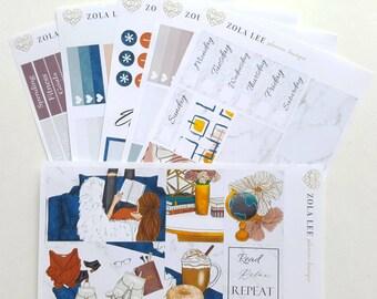 Planner Stickers Velvet MARBLE kit for Erin condren vertical