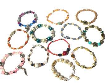 Bracelets Lot- 25 Pieces - Wholesale Batch - Beaded Bracelets - Many Bracelets - Jewelry Lot - Colorful Jewelry - Handmade Bracelet