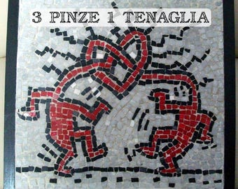 Mosaic painting Style Keith Haring