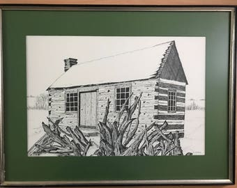 Original Pen and Ink Cabin