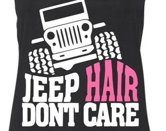 Jeep Hair Don't Care Racerback Tank Top