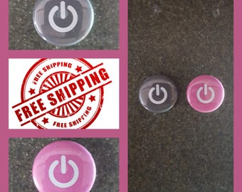 """1"""" Power Symbol Button Pin or Magnet, FREE SHIPPING & Coupon Codes"""