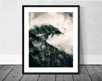Mountains Art Print, Mountain Photography, Landscape Photography, Mountains, Madeira, Black and White Photography, Home Décor, Landscape