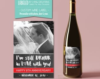 wedding anniversary wine label  - anniversary gift - happy anniversary - personalized wine label - waterproof labels - wedding - engagement