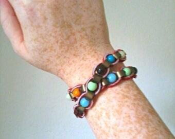 Leather & glass beads boho wrap bracelet
