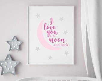 I Love You to the Moon and Back - Pink