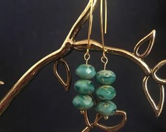Blue Picasso Finish Rondelle Bead Dangle Earrings