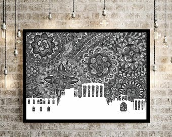 Athens, Poster, City, Skyline, Black and White, Print, Digital Illustration, Home Decore, Art, Zentangle, Doodle, Greece, Drawing, Art Print