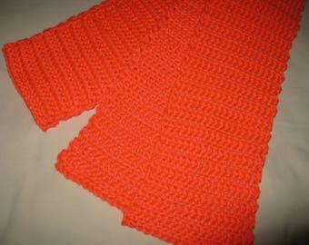 Crocheted Soft Bright Orange Scarf