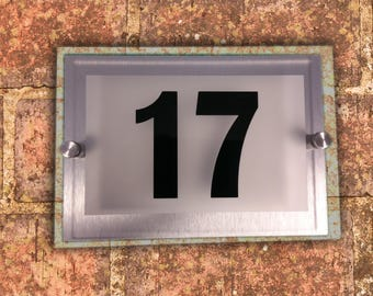 Personalised modern house plaque / door number street sign / house plaque number