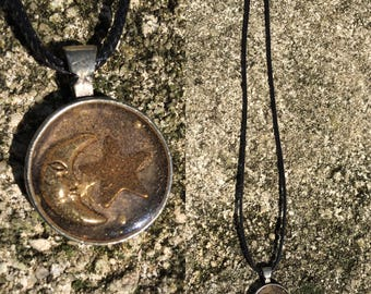 1970s Vintage Pewter Sun and Moon Glass Pendant