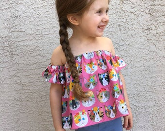 Cat Kitten Kitty Baby Toddler // Off The Shoulder Toddler Baby Shirt // Toddler Crop Top // Baby Crop Top // Boho Baby // Peasant Top //Tube
