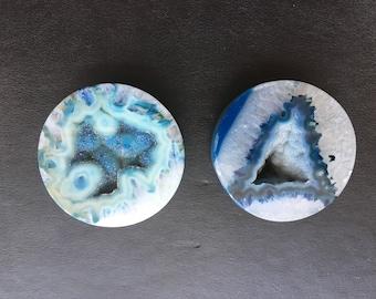 2 inch Blue Geode Stone Agate Plugs