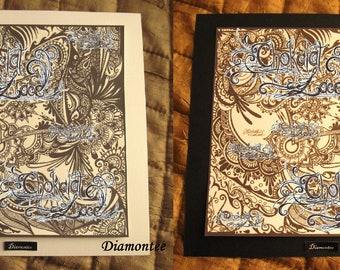 Diamontee - colouring picture, hand drawn original design, black & white, fun, creativity, children, adults, joy, art, paper, cardboard