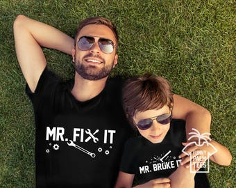 Father and son matching shirts daddy and son shirts daddy and daughter shirts fathers day gift father and daughter shirts mr fix it shirt