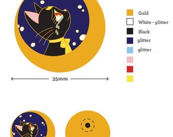 Love Hurts Luna Sailor Moon Enamel Glitter Anime Cat Pin