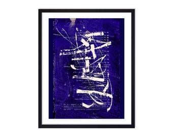 Blue Abstract Art Print - Blue Abstract Poster - Abstract Calligraphy - Trendy