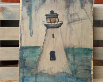 Lighthouse Painting Wood Transfer